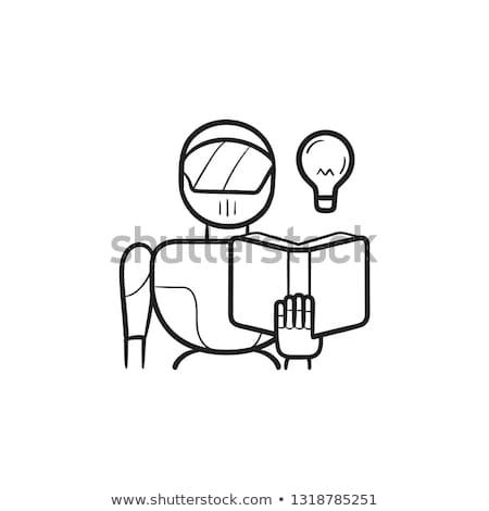 ロボット · ギア · スケッチ · アイコン · ベクトル · 孤立した - ストックフォト © rastudio