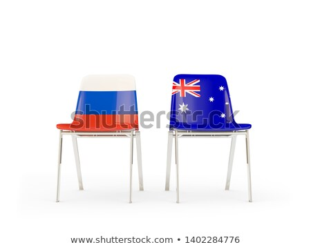 Two chairs with flags of Australia and russia Stock photo © MikhailMishchenko