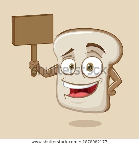 rajz · szelet · kenyér · tart · felirat · illusztráció - stock fotó © bennerdesign