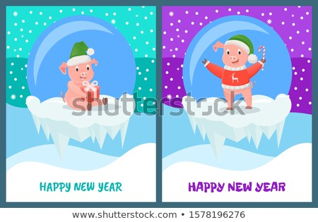 Happy New Year, Pig with Candy Stick Smiling Stock photo © robuart