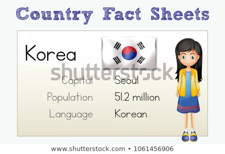 Flashcard for country fact of Korea Stock photo © colematt