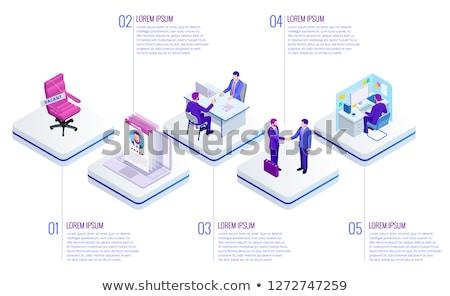 izometrikus · vektor · leszállás · oldal · sablon · alkalmazott - stock fotó © -talex-