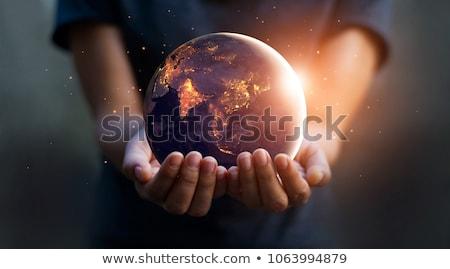 Ludzka ręka zapisać świat ilustracja drzewo świecie Zdjęcia stock © bluering