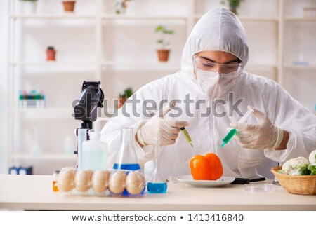 scientist working in lab on gmo fruits and vegetables stock photo © elnur