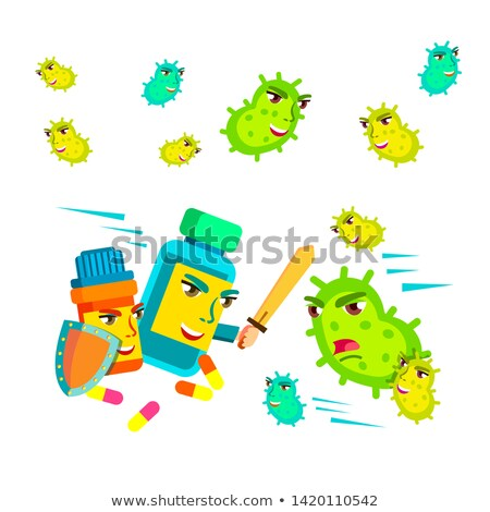 Collection Of Fungus Microbe And Pills Set Vector Stock photo © pikepicture