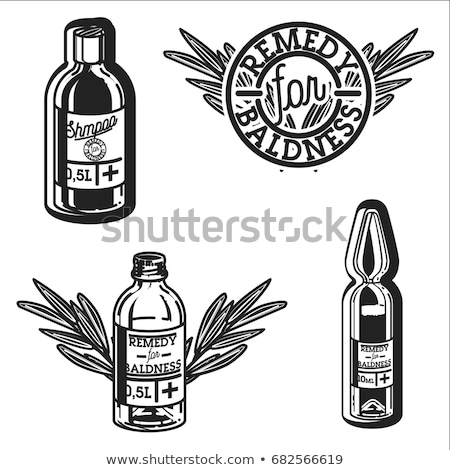 Color vintage remedy for baldness emblems Stock photo © netkov1