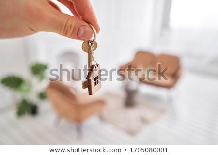üzletember · kulcsok · fehér · ház · munka · modell - stock fotó © vladacanon