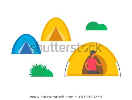 Camping Stadt grünen Gras Büsche isoliert männlich Stock foto © robuart