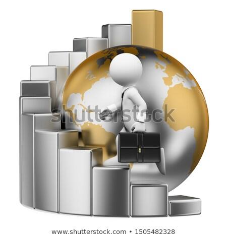 3D · los · blancos · global · gerente · sentado · mundo - foto stock © texelart