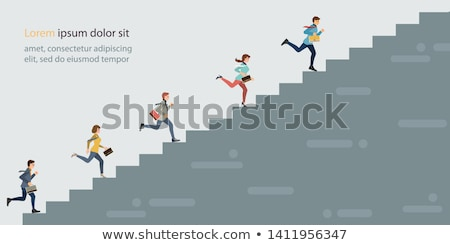 Businesswoman climbing career ladder in business concept Stock photo © Elnur