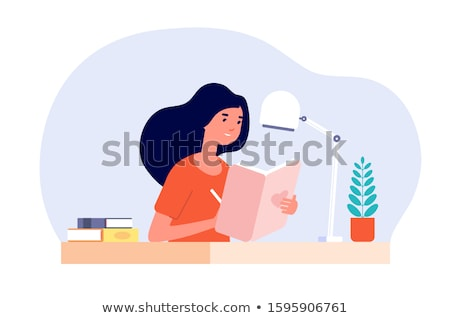 teenage student girl with diary or notebook thinks Stock photo © dolgachov