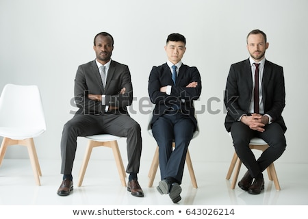 Front view of Caucasians business executives working sitting on the sofa in modern office Stock photo © wavebreak_media