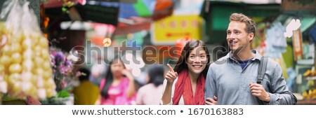 Stock photo: Young man tourist on Walking street Asian food market BANNER, LONG FORMAT