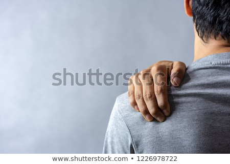 Człowiek ból barku półnagi mężczyzn powrót Zdjęcia stock © AndreyPopov