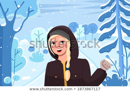 Image of young girl wearing hat and coat smiling and waving her  Stock photo © deandrobot