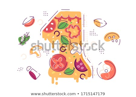 Number one decorated as piece of yummy pizza Stock photo © jossdiim