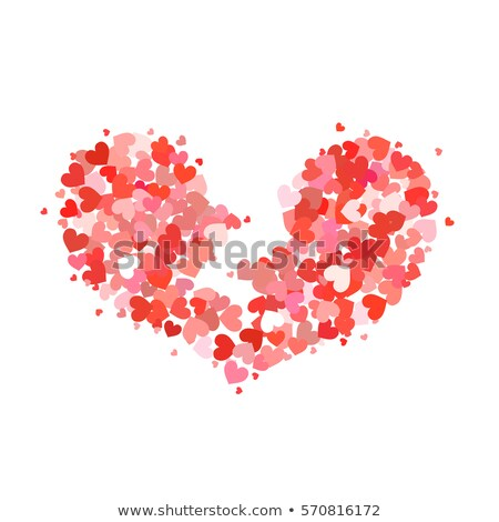 Broken heart made up of little red and pink hearts on white Stock photo © evgeny89