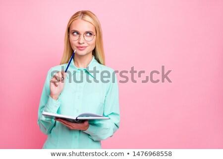 Portret blond denken vrouw dagboek Stockfoto © deandrobot