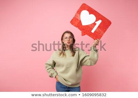 Portré vicces nő tart plakát készít Stock fotó © deandrobot
