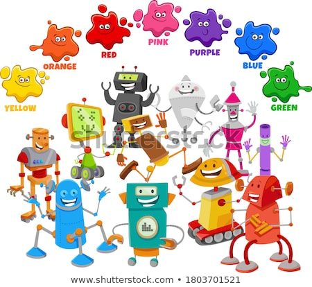 basic colors with cartoon robot characters group Stock photo © izakowski