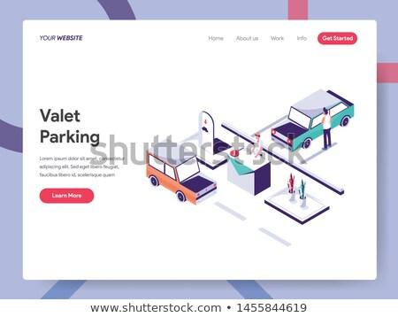 Pokryty parking izometryczny ikona wektora kolor Zdjęcia stock © pikepicture