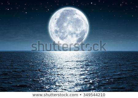 Maan zee 3d illustration achtergrond oceaan Blauw Stockfoto © Onyshchenko