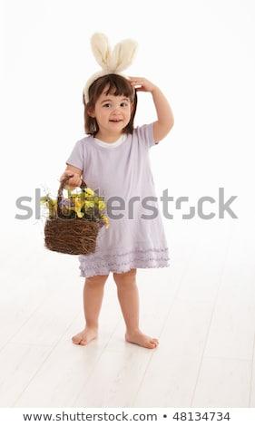 mutlu · küçük · kız · komik · tavşan · kulaklar - stok fotoğraf © dacasdo
