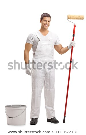 young painter posing with roller stock photo © photography33