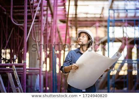 Mulher olhando instalação desenho escritório trabalhar Foto stock © photography33