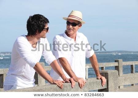 Apa fia promenád nyár férfiak kék kő Stock fotó © photography33