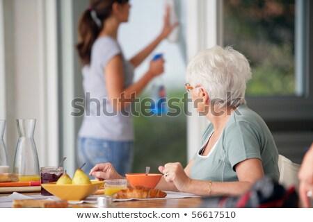 kadın · temizlik · tüy · beyaz · kadın · mutlu · kadın - stok fotoğraf © photography33