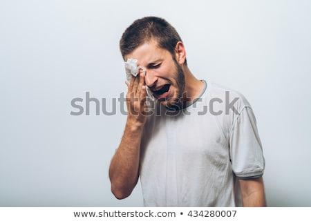 Photo stock: Homme · pleurer · larmes · déception · fond · cri