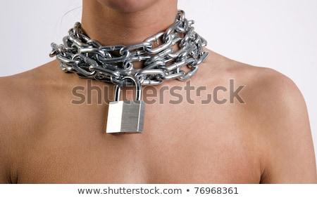 zárolt · lánc · zár · izolált · fehér · biztonság - stock fotó © cboswell
