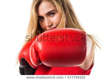 attractive blond girl in boxers gloves stock photo © acidgrey