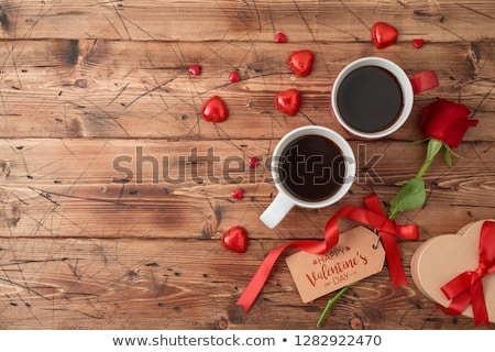 Valentines day card with two coffee and hearts  Stock photo © carodi