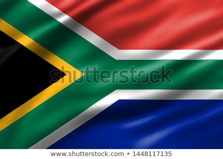 ストックフォト: ファブリック · テクスチャ · フラグ · 南アフリカ · 青 · 弓