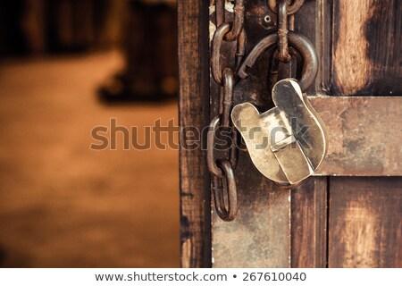 Rusted open padlock, isolated Stock photo © michaklootwijk