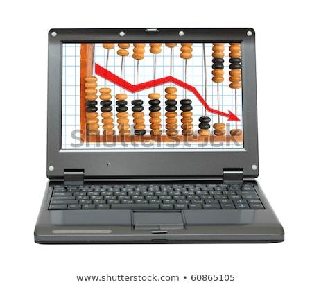 Laptop csökkenés diagram abakusz kicsi üzlet Stock fotó © Mikko