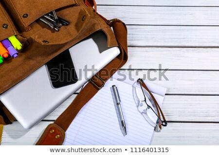 Сток-фото: студент · плечо · сумку · ноутбука · привлекательный · модный