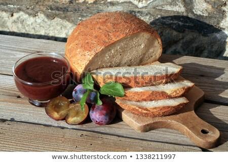 Stok fotoğraf: Erik · reçel · tost · ekmek · mutfak · masası · yemek