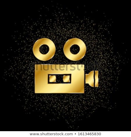 Fotocamera oro vettore icona pulsante design Foto d'archivio © rizwanali3d