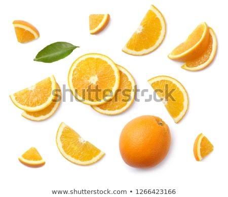 Dojrzały pomarańczowy plasterka odizolowany biały tle pomarańczowy Zdjęcia stock © OleksandrO