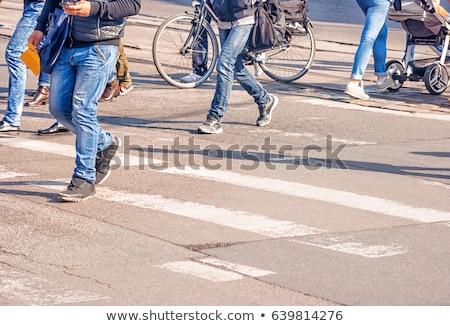 Bicikli gyalogos emberek város biciklik Hollandia Stock fotó © amok