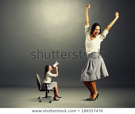 Stockfoto: Big Person With Small Businesswoman Concept