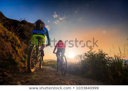 Mujer hombre bicicleta de montana bosques feliz fitness Foto stock © Kzenon