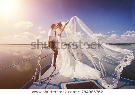 Boldog friss házasok fiatal pér ünnepel gyönyörű tengerpart Stock fotó © deandrobot