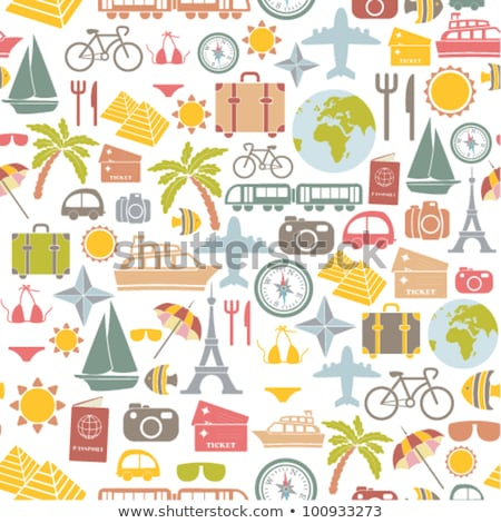 seamless vector pattern set of bicycle silhouettes stock photo © adrian_n
