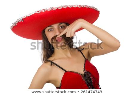 woman wearing sombrero on the white stock photo © elnur