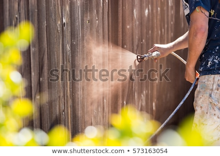 Profissional pintor cerca mancha casa madeira Foto stock © feverpitch