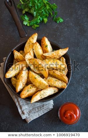zöld · disznóhús · vesepecsenye · krumpli · cékla · sajt - stock fotó © digifoodstock
